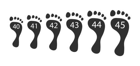 Foot human sizes. Black prints of bare feet from 40 to 45 volumes anatomy selection of orthopedic shoes for maximum vector comfort. Ilustração