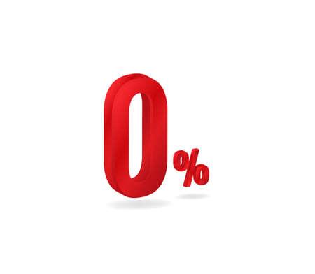 Zero red 3d percent. Promotion symbol of maximum marketing discount special market vector commercial offer. Ilustração