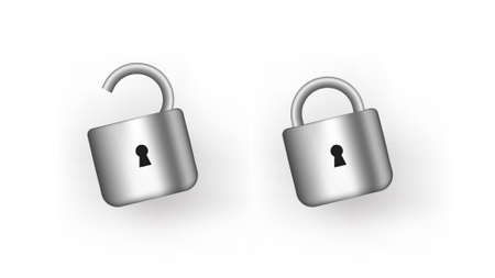 Open and closed padlock. Security protection and data unlocking by user trustworthy steel symbol confidential information with vector data storage.