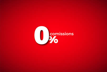 Zero percent commission red background. White symbol of maximum marketing discount special market vector ecommerce offer. Ilustração