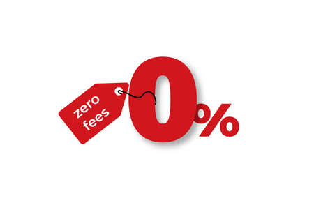 Zero percent fees clipart. Red marketing symbol with attached label and giveaway with special business offer and no credit vector duty.