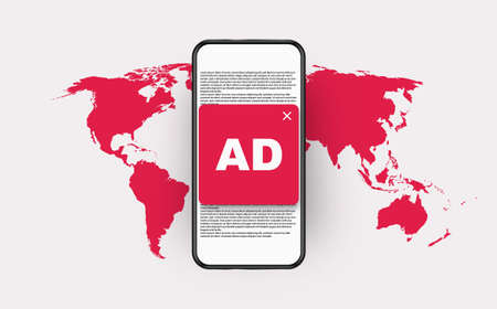Global ad blocking. Red spam blocker and ban internet aggressive marketing skip global prohibition advertising vector trends.