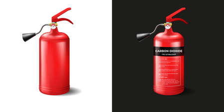 Red fire extinguisher template. Metal balloon with foam and instructions for use firefighting cylinder with black spray and pressure sensor vector