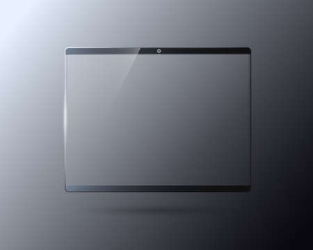 Transparent touch screen laptop template Glass display for digital gadgets and monitors replaceable multimedia part with shockproof vector effect.