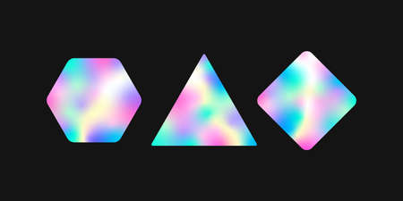 Iridescent geometric stickers with gradient template. Holographic labels with wavy colors neon glitter with blur on foil for vector certification.