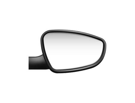 Car side mirrors template. Empty mirrored item with black frame to view road and pedestrians safety symbol on vector highway.