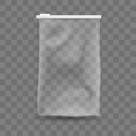 Polythene empty bag isolated template. Transparent packet with white adjustable zipper for storing food and protecting things from vector moisture.