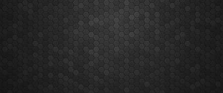 Industrial black gradient hexagons background. Tracery geometric polygonal tiles laid in abstract texture in monochrome vector