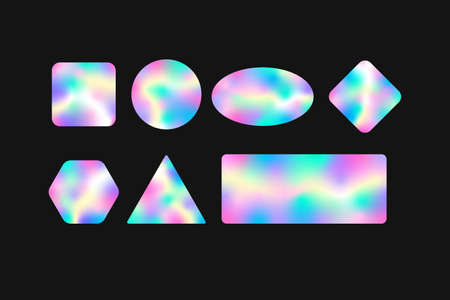 Holographic geometric stickers with gradient template. Colorful labels with iridescent wavy colors neon glitter with blur on foil for vector certification. Ilustracja