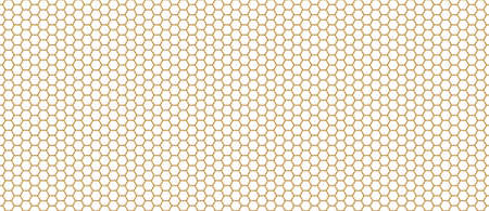 Golden hexagons on light background. Metal honeycomb with geometric ornament and minimalist abstract vector design.