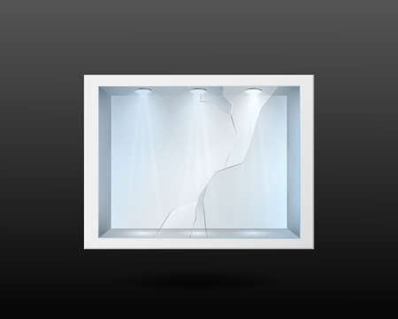 White container with broken glass and lighting inside. Empty exhibition with transverse crack after fall and impact stand with backlight lamp at top realistic showcase for vector expositions Ilustracja