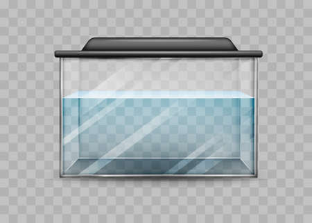 Transparent aquarium with water isolated template. Rectangular container with black backlight lid water world at home and vector office.