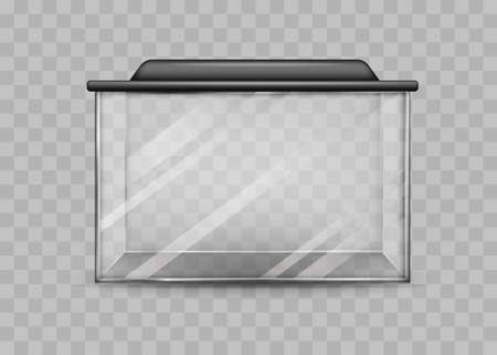 Transparent rectangular aquarium isolated template. Square container with black backlight lid water world terrarium at home and vector office. Ilustracja
