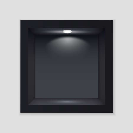 Black container with glass and lighting template. Indoor empty dark exhibition stand with white backlight lamp at top realistic showcase for vector expositions.