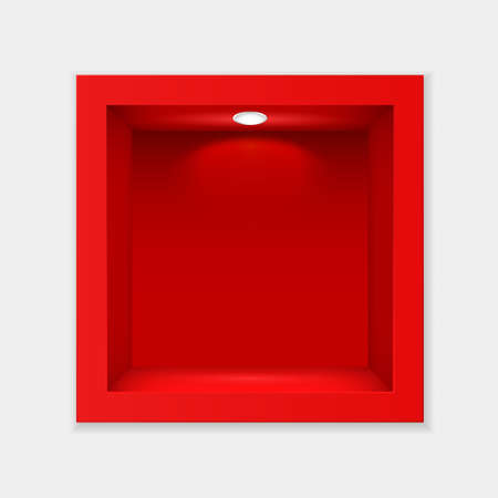 Red container with glass and lighting template. Indoor empty cube exhibition stand with white backlight lamp at top realistic showcase for vector expositions.