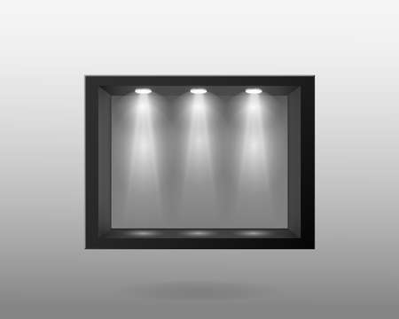 Black container with glass and with interior lighting template. Indoor empty dark exhibition stand with white backlight lamp at top realistic showcase for vector expositions.