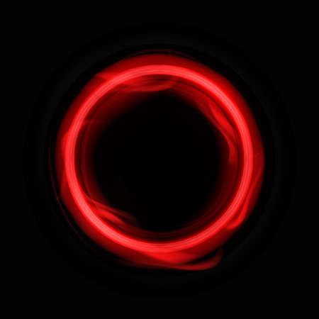 Red energy circle template. Round frame with flashes plasma waves with glowing digital banner glitter on dark vector surface Illustration