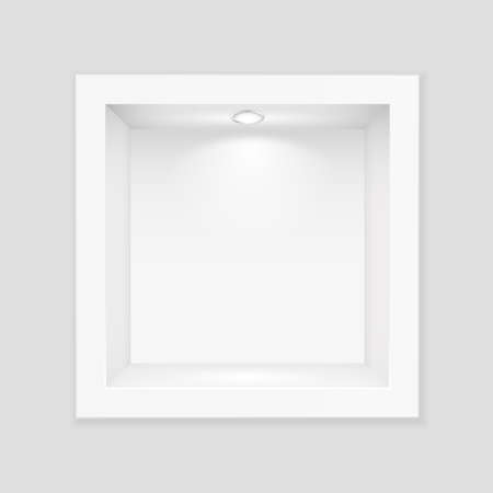 White box with glass and lighting template. Indoor empty exhibition stand with white backlight lamp at top realistic showcase for vector expositions.