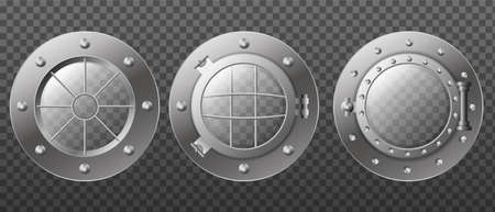 Submarine armored portholes isolated template. Metal window with gratings to withstand higher water vector pressure. Ilustracja