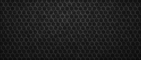 Geometric dark ornament hexagons background. Tracery polygonal gradientl tiles laid in abstract texture in monochrome vector Ilustracja