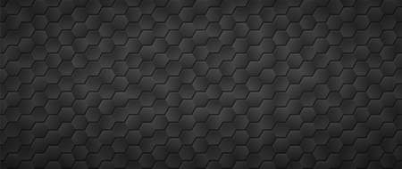 Black gradient hexagons background. Honeycomb tracery gird in abstract texture in monochrome vector fiber Ilustracja