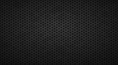 Dark honeycomb convex hexagons background. Geometric gird polygonal tiles laid in abstract texture in monochrome vector gradient