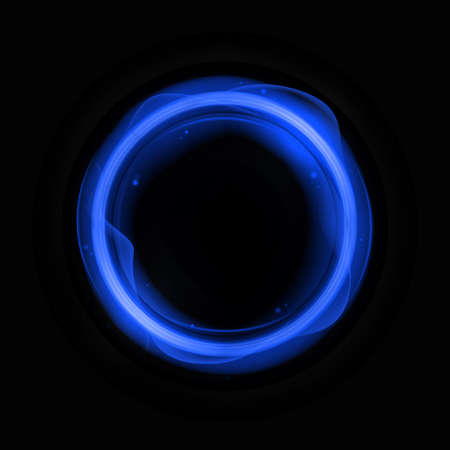Blue energy circle template. Round banner frame with flashes electric waves with glowing digital glitter on dark vector surface