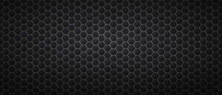 Dark honeycomb hexagons background. Polygonal black gradientl tiles laid in abstract texture in monochrome vector line