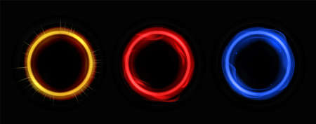 Energy circles with neon colors template. Round banner frame with flashes electric and sunny rays with glowing digital glitter on dark vector surface Zdjęcie Seryjne