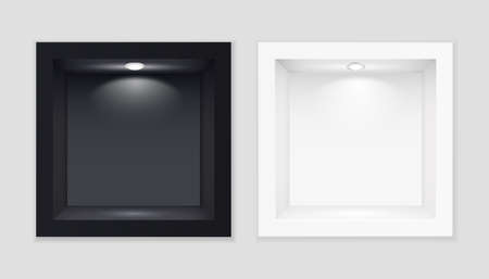 Black and white exhibition cubic showcases with illuminated template. Indoor empty stand with white backlight lamp at top realistic showcase for vector expositions.