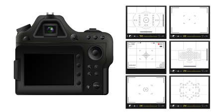 Digital camera with screens of shooting modes template. Black professional gadget with variable geometric setting of vector filming displays. Standard-Bild