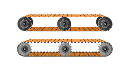 Conveyor factory belt. Transportation machine escalator with moving rollers for movement of goods equipment for transporting bags and vector people Illustration