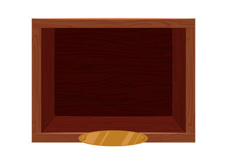 Wooden vintage shelf with golden nameplate template. Brown empty storage box for clothes and belongings square rack for museum exhibits and vector books Illustration