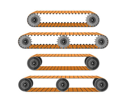 Conveyor belt. Industrial machine escalator with moving rollers for movement of goods equipment for transporting bags and vector people Illustration