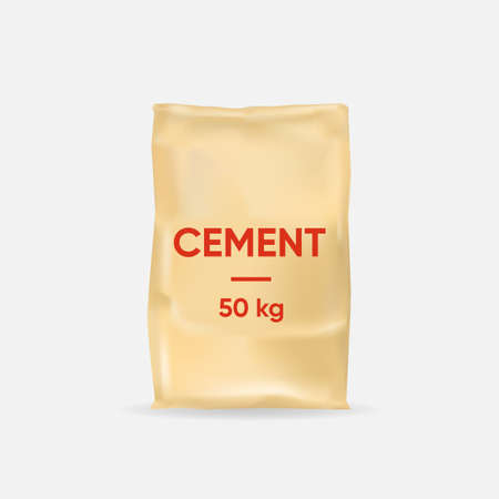Cement bag template. Thick paper bag 50 kg for construction and brickwork plaster and screed for ceilings and vector walls