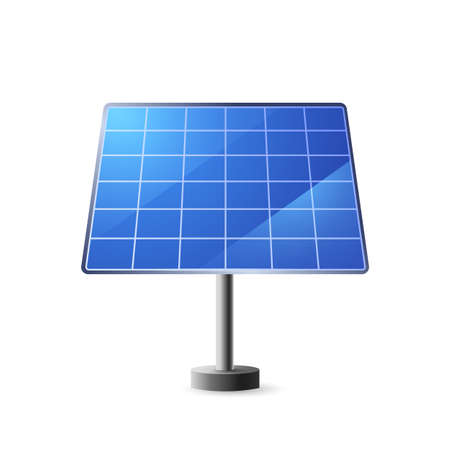 Solar panel. Blue plates with cells for alternative extraction of energy on stand clean eco energy of new vector generation.