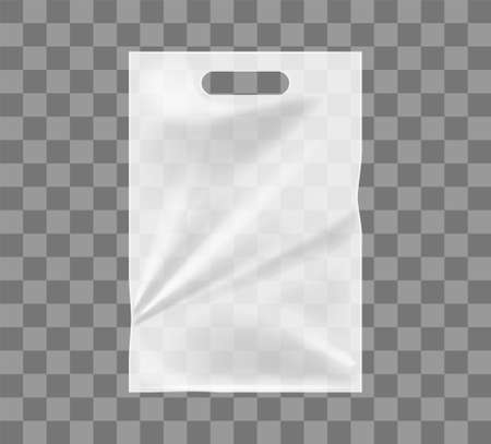 White polythene package isolated mockup. Empty ransparent bags for food and garbage plastic containers for easy carrying of vector items. Illustration
