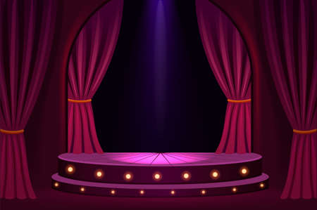 Illuminated stage in concert hall template. Festive show in trendy club with velvet curtains and platform lights vintage presentation in vector theater