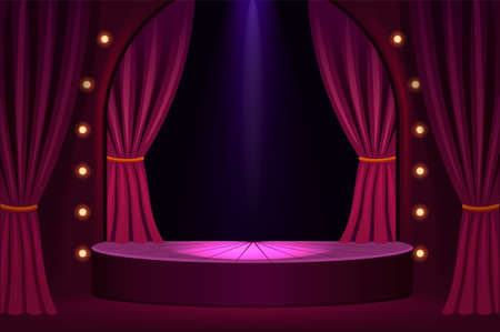 Stage podium in concert hall template. Festive show in trendy club with velvet curtains and stage lights vintage presentation in vector theater