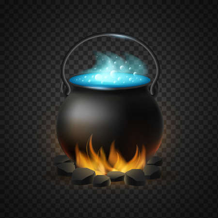 Boiling cauldron of magic potion isolated. Warming up burning black coals of pot of blue bubbling potion symbol of witchcraft and vector halloween Illustration