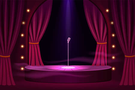 Stage for performances with microphone template. Podium show in trendy club with velvet curtains and stage lights vintage presentation in vector theater