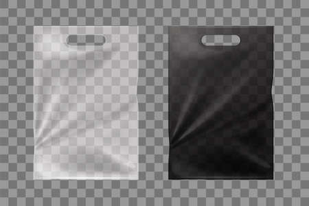 Black and white cellophane bags isolated mockup. Transparent bags for food and garbage plastic containers for easy carrying of vector items.