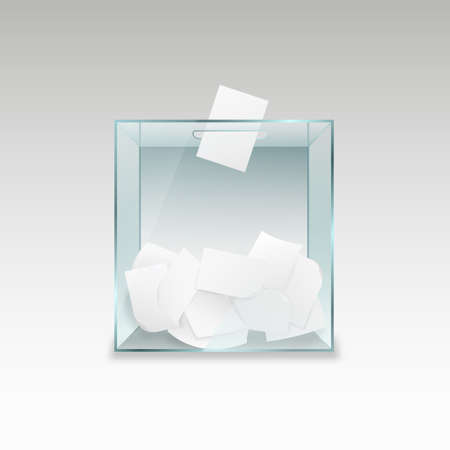 Ballot box with voting forms. Transparent glass container with pieces of paper political referendum and test poll democratic campaign of choosing political vector candidates