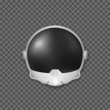 Helmet from astronauts space suit isolated. Modern equipment for open space with black visor and oxygen tubes protective mask against vacuum and airless vector space