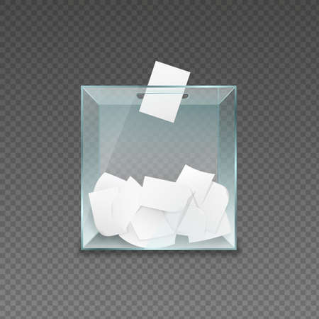 Ballot container with voting forms. Transparent glass box with pieces of paper political referendum and test poll democratic campaign of choosing political vector candidates Illustration