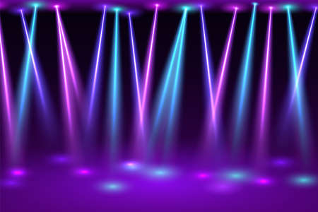 Disco hall with spotlights. Bright flashes of neon lamps on empty festive stage presentation and club fun party opening colorful performance.
