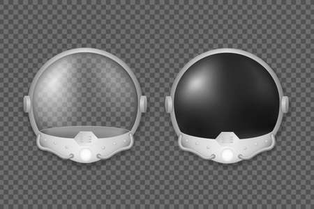 Helmet of astronaut and fighter pilot. Safety mask with black and transparent glass equipment for open space with visor and oxygen tubes protective mask against vacuum and airless vector space Standard-Bild