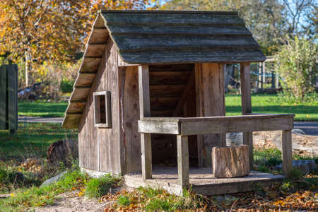 Charming little sunlit playhouse build from natural materials