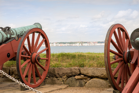 Cannons of Elsinore castle Kronborg in Denmark, Scandinavia pointing towards Sweden  photo