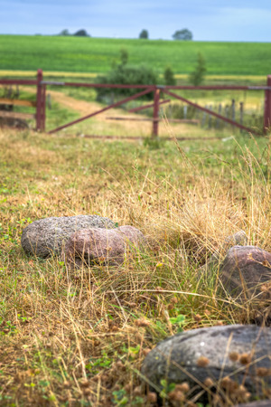 Stones lying in the grass close by a gate to a meadow  Stock Photo